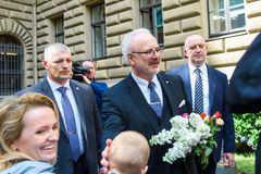 Egils Levits, newly elected President of Latvia. 29.05.2019. RIGA, LATVIA. Egils Levits, newly elected President of Latvia , coming out to meet supporters, near royalty free stock photos