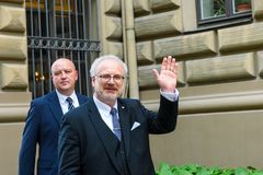 Egils Levits R newly elected President of Latvia. 29.05.2019. RIGA, LATVIA. Egils Levits, newly elected President of Latvia , coming out to meet supporters, near stock photography