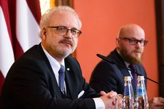 Egils Levits, newly elected President of Latvia , during press conference. 29.05.2019. RIGA, LATVIA. Egils Levits, newly elected President of Latvia , during royalty free stock photography