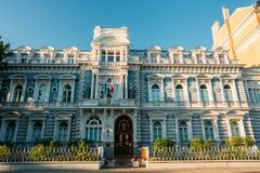 Riga, Latvia. Embassy Of France In Latvia. Facade Of Building Under Blue Clear Sky. At Sunny Summer Day Stock Images