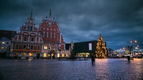 Riga, Latvia. Time Lapse Timelapse Time-lapse Of Town Hall Square, Popular Place With Famous Landmarks On It In Bright stock footage