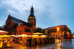 Riga, Latvia. Evangelical Lutheran cathedral at night Royalty Free Stock Images