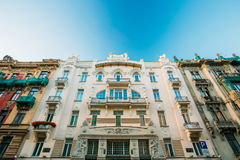 Riga, Latvia. Facade Of Old Art Nouveau Building designed by Mikhail Eisenstein on 4 Alberta Street. Sunny Summer Day Under Blue Clear Sky. UNESCO World royalty free stock image
