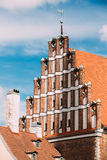 Riga, Latvia. Facade Of Old Medieval House In Summer Sunny Day U Royalty Free Stock Images