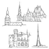 Riga Latvia Famous Buildings Royalty Free Stock Images