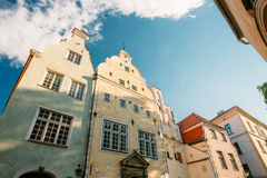 Riga, Latvia. Famous Landmark Three Brothers Buildings. Old Houses Royalty Free Stock Images