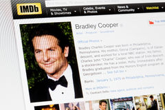 RIGA, LATVIA - February 02, 2017: IMDb biography profile of famous actor Bradley Cooper. Royalty Free Stock Photography