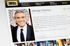 RIGA, LATVIA - February 02, 2017: IMDb biography profile of famous actor George Clooney. . Royalty Free Stock Photography