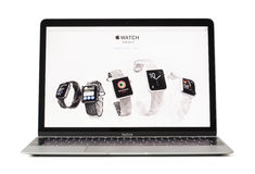 RIGA, LATVIA - February 06, 2017: iWatches on desktop of 12-inch Macbook laptop computer. Stock Photography