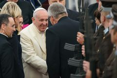 His Holiness Pope Francis and Raimonds Vejonis, during Pope Francis arrival for Official State visit in Riga, Latvia stock images