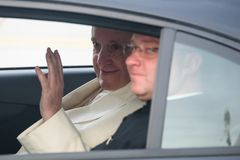 His Holiness Pope Francis sitting at car. Stock Photo