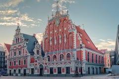 Riga, Latvia. House Of The Blackheads At Town Hall Square stock photo