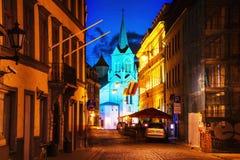 Riga, Latvia. Illuminated church in Riga, Latvia at night Stock Image