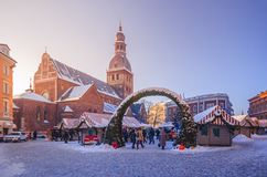 Christmas market in the Old Town of Riga. royalty free stock photo