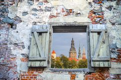 Old Riga city offers for tourists the unique Gothic architecture royalty free stock images