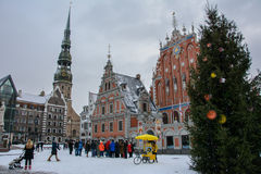 Riga, Latvia - January 5, 2015: House of the Blackheads in the winter - a monument of architecture of the XIV century, one of the stock image