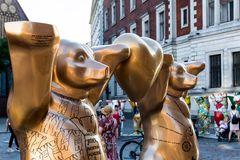 `Golden Rule` bears at United Buddy Bears international art exhibition royalty free stock photo
