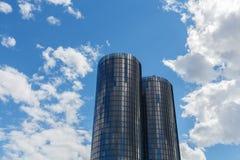 Riga, Latvia - July 19, 2017: Modern glass skyscrapers. Two roun Stock Photos