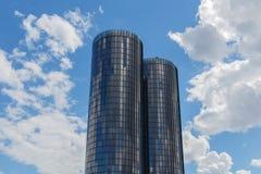 Riga, Latvia - July 19, 2017: Modern glass skyscrapers. Two roun Royalty Free Stock Photography