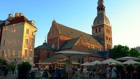 Riga - Latvia, June 17, 2017: A cozy cafe on the main square of the old Riga, Latvia. stock video footage