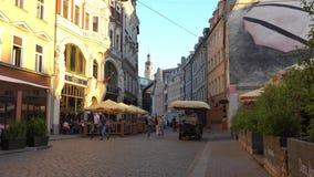Riga - Latvia, June 17, 2017: Street in the old Riga city, Latvia. stock video footage