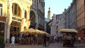 Riga - Latvia, June 17, 2017: Street in the old Riga city, Latvia. stock footage