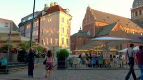 Riga - Latvia, June 17, 2017: Street in the old Riga city, Latvia. stock video