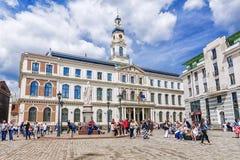 RIGA LATVIA-10 JUNI, 2017: Byggnaden av stadshuset på Arkivbilder