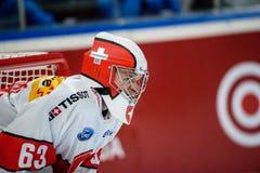 Leonardo Genoni,  National team Switzerland. 26.04.2018. RIGA, LATVIA. Leonardo Genoni, during Euro Hockey Challenge game between team Latvia and team Royalty Free Stock Image