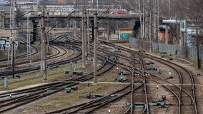 RIGA, LATVIA - MARCH 27, 2019: Multiple railway track switches , symbolic photo for decision, separation and leadership qualities.  royalty free stock photo