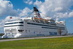 Free Riga, Latvia - May 4, 2020: Tallink Cruise Ferry Royalty Free Stock Photo - 181869595