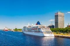 Riga, Latvia - 24-May-2016: ferry ship in Riga, Latvia Royalty Free Stock Photo