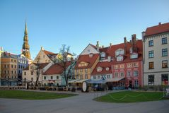 Riga, Latvia. 01 may 2017. Square in the historic old town royalty free stock images