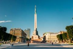 Riga, Latvia. Memorial Freedom Monument At Freedom Square In Sunny Royalty Free Stock Photos