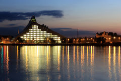 Riga, Latvia. Latvia, Riga. The modern building of National library after sunset Royalty Free Stock Image