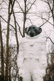 Riga, Latvia. Monkey statue in a spacesuit in Kronvalda park. St Royalty Free Stock Photography