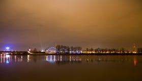 Riga Latvia night city Stock Image