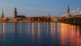 Riga (Latvia) at night royalty free stock photos