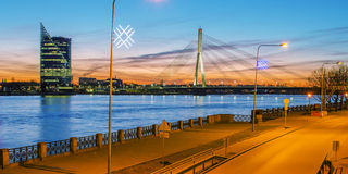 Riga (Latvia)  at night Stock Photos