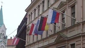 Riga, Latvia - November 3rd, 2019: Latvia Austria Germany Russian Federation country countries politics embassy