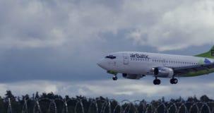 RIGA LATVIA - OCTOBER 8: Airbaltic plane landing in airport in Riga, October 8, 2016 in Riga stock footage