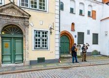 RIGA, LATVIA - OCTOBER 09, 2013: Street musicians Royalty Free Stock Image