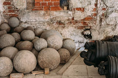 Riga, Latvia. Old Cannonballs In Museum Of Dome Cathedral Stock Photos