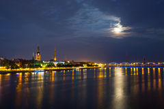 Riga, Latvia. Old center of Riga, Latvia at night Stock Photo