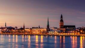 Riga, Latvia: Old Town of at night stock photos