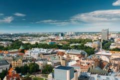 Riga, Latvia Paisaje urbano de Riga en Sunny Summer Day Vista superior de famoso fotografía de archivo