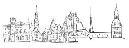 Riga Latvia Panorama Sketch. Monochrome Urban Cityscape Vector Artprint