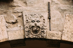 Riga, Latvia. Part Of Famous Landmark Is Head Of Lion On Arch Of Royalty Free Stock Photos