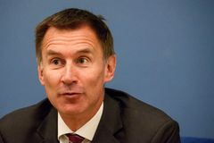 Jeremy Hunt, Minister of Foreign Affairs of United Kingdom. 15.08.2018. RIGA, LATVIA. Press conference of Jeremy Hunt, Minister of Foreign Affairs of United royalty free stock image