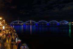 18.11.2018. RIGA, LATVIA. Railway bridge in Riga. Staro Riga festival of light. Celebration Latvia 100th birthday. 18.11.2018. RIGA, LATVIA. Staro Riga festival royalty free stock photography